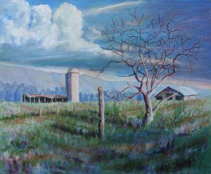 Farm Scene With Silo